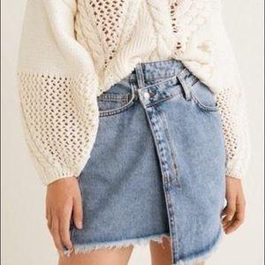 Mango Asymmetric Denim Skirt
